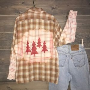 Distressed dip-dyed Christmas flannel